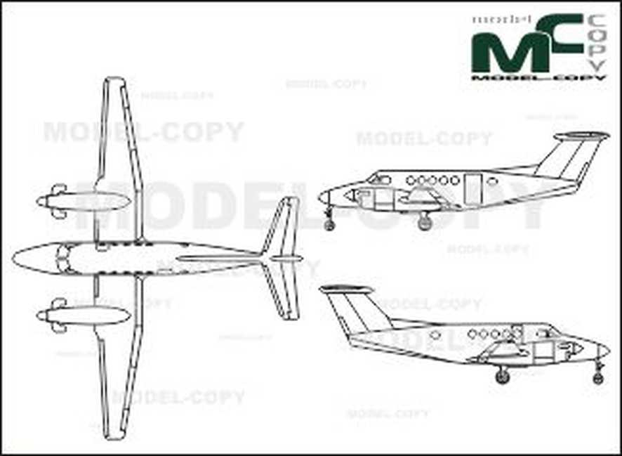 Beech King Air B 200 - 2D drawing (blueprints)
